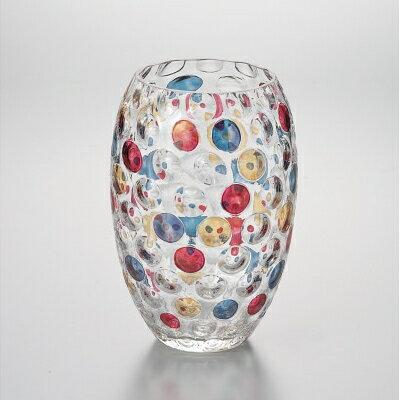 Laska Bohemiaglass/ラスカボヘミアガラス カリガラス花瓶 水玉 EGV-510