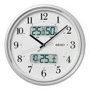 セイコークロック KX357W 電波掛時計 自動点灯機能 カレンダー表示 温度表示 湿度表示