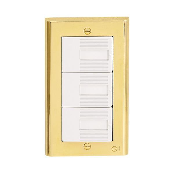 ゴーリキアイランド 真鍮製スイッチプレート コスモシリーズワイド21用 1連用 真鍮PVD仕上げ ゴールド スイッチプレート PC PVDの写真