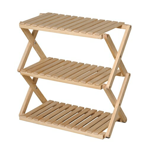 コーナンオリジナル コーナンラック 折り畳み式木製ラック3段 ワイドタイプ