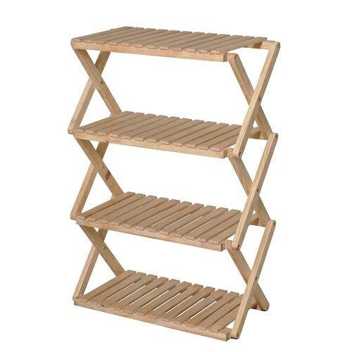 コーナンオリジナル コーナンラック 折り畳み式木製ラック4段 ワイドタイプの写真