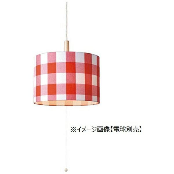 メルクロス トリコ 3灯木付きソケット付きペンダントランプ 電球なし チェック/レッド 001787の写真