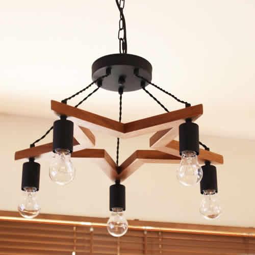 5bulb wood star lightm5灯ウッド bkスチールスター型ペンダントライトmサイズの写真