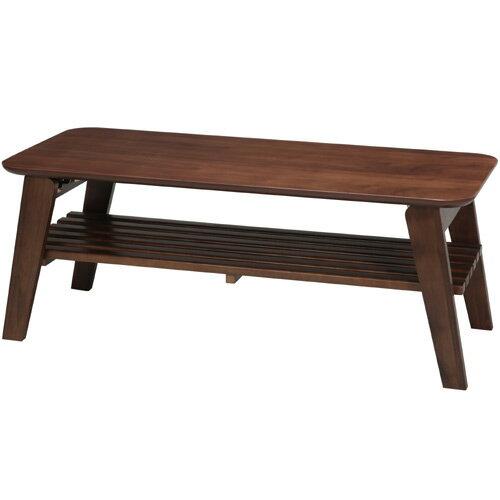 ブラウン/茶 折りたたみローテーブル/木製/2WAY/リビングテーブル/木目/ウォールナット/北欧風/モダン/棚収納付き/完成品/NK-9003の写真