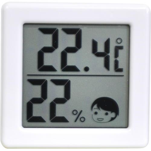 ドリテック 小さいデジタル温湿度計 ホワイト O-257WT(1セット)の写真