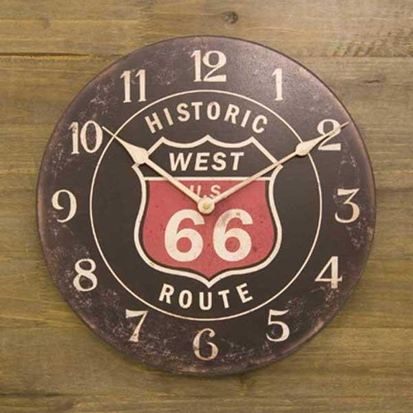 (置き時計 掛け時計) アンティーク調 掛け時計 レジェクション カフェ クロック ルート66 (黒)の写真
