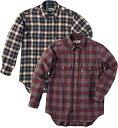 ムッシュ(MUSSHU) 中空繊維軽量メンズチェックシャツ Yグレー×ブラウン L 55160