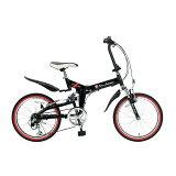 TL-207 折畳自転車20・6SP・Wサス ブラック BK