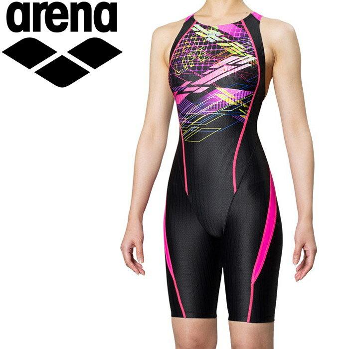 arena(アリーナ) レーシング水着 AQUA RACINGシリーズ セイフリーバックスパッツ 着やストラップ ロゴ&幾何学柄 FAR-9576W (BKPK)ピンク×ブラック×Fピンク S