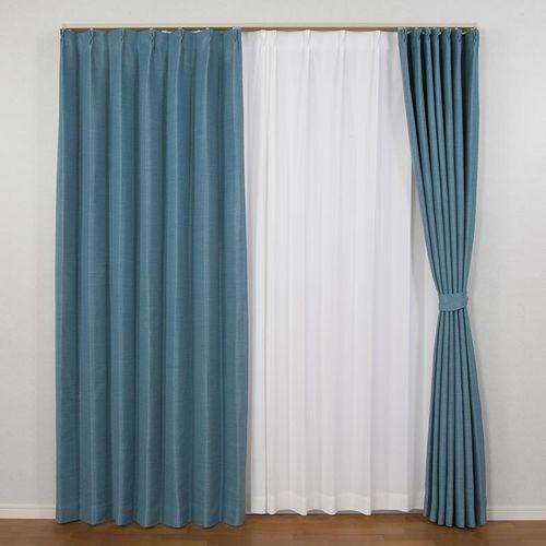ユニベール遮光ドレープカーテン エコプレーン2 ターコイズ 幅 丈 の写真