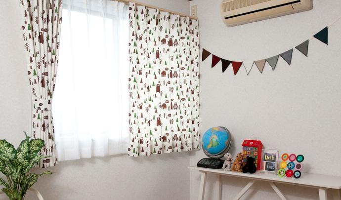 キッズドレープカーテン サンビキノクマ ベージュ 幅 丈