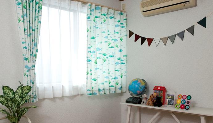 キッズドレープカーテン ウミノヒミツ ブルー 幅 丈   の写真