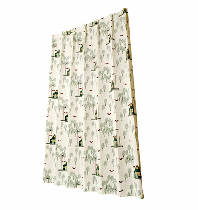 キッズドレープカーテン モリノキツネ ミックス  幅100×丈135cm  2枚組の写真
