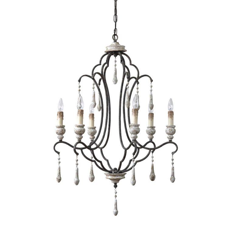 shabbychic chandelier 6 bulbs gray sp-zrfr1100