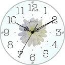 スターライン SW-1186WT 黒文字・ホワイト/白花 アートフラワークロック 掛時計 ガラス/造花/アクリルストーン