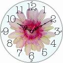 スターライン STW-1188PK 黒文字・ピンク花 アートアートフラワー クロック 置掛け兼用/ガラス/造花/アクリルストーン