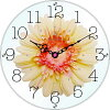 スターライン STW-1188PC 黒文字・ピーチ花 アートフラワー クロック 置掛け兼用/ガラス/造花/アクリルストーン