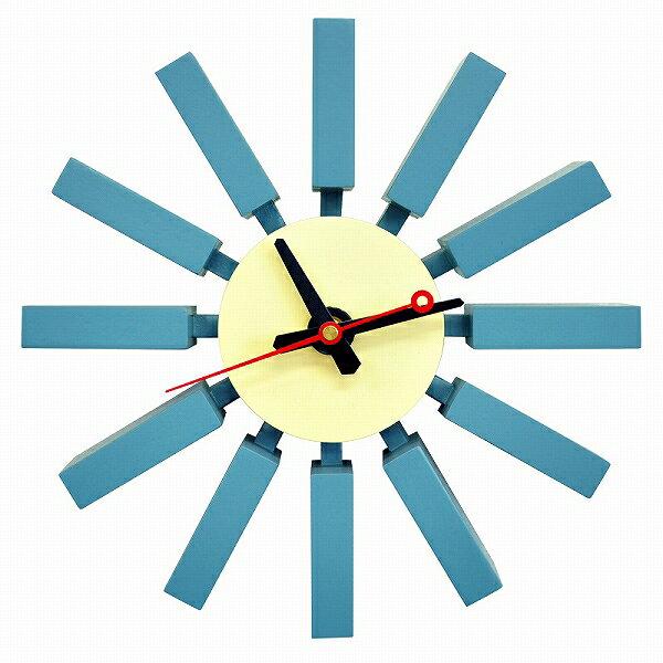 ジョーネルソンデザイン 壁掛け時計 -ブロッククロック- 青水色ブルーの写真