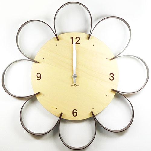 ヤマト工芸 掛時計 FLOWER CLOCK YK10-103-Br 栗色 ブラウンの写真