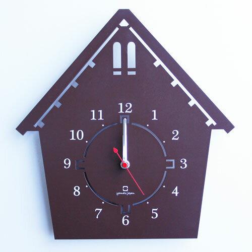 ヤマト工芸 にぴったり  家の形の掛け時計 DOUWA house S ブラウン クロック YK14-002-BR    03の写真