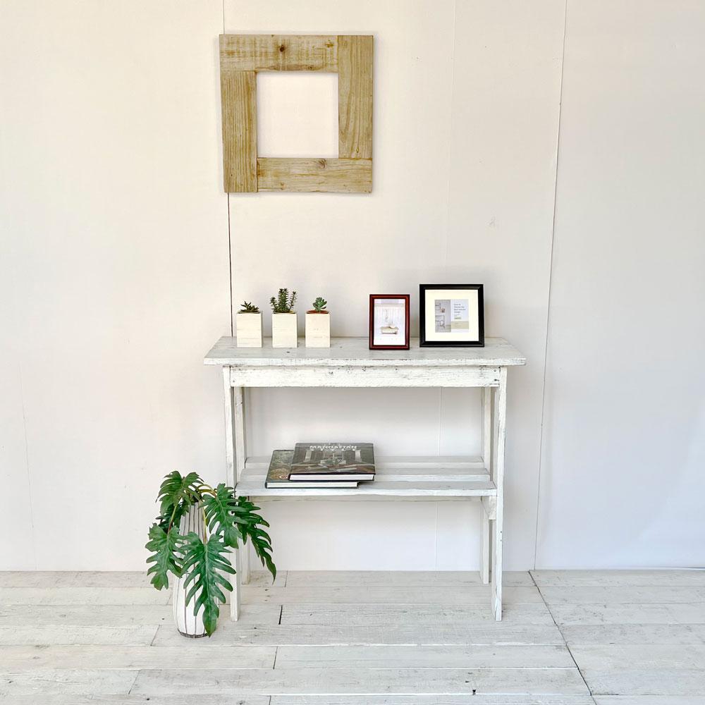 リサイクルウッド コンソールテーブル ホワイトの写真