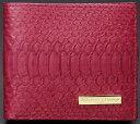 Salvatore Marra本革使用のパイソン柄二つ折りメンズ財布(小銭入れあり)サルバトーレマーラ パイソン財布SM-2001T-RDレッド