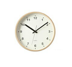 KATOMOKU plywood wall clock ナチュラル スイープ 連続秒針 km-33M φ252mmの写真