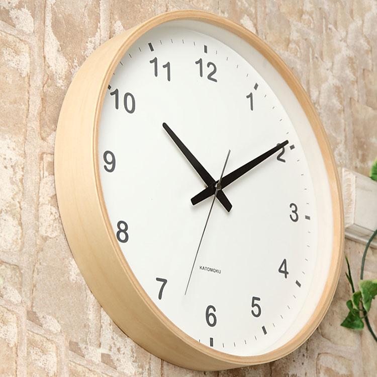 KATOMOKU plywood wall clock ナチュラル スイープ 連続秒針 km-33L φ304mm