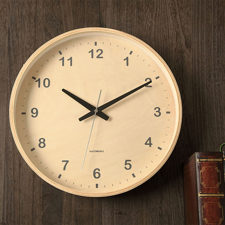 KATOMOKU plywood wall clock シナ Lサイズ km-34の写真