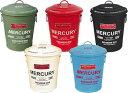 MERCURY マーキュリー ラウンド ダストビン ブリキ製 ゴミ箱 BLUE GRAY ブルーグレ画像