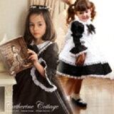 子供ドレス 編上げ袖 黒 3WAYエプロンドレス ワンピース アリス