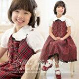 子供ドレス タータンチェック編み上げ ジャンパースカート ワンピース