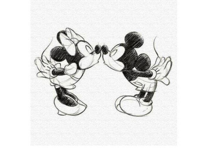 (アートデリ) ディズニー インテリア用アートパネル ミッキー&ミニー ファブリックパネル (dsn-0152)の写真