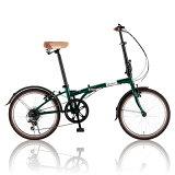 ルノー20型 折りたたみ自転車 RENAULT FDB206BW(メタリックグリーン) 11762-1199