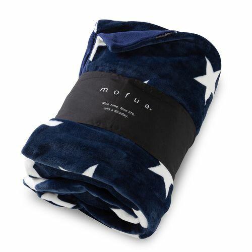 mofua 布団を包める ぬくぬく毛布 星柄 ダブル ネイビー