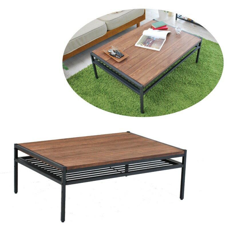 天然木製リビングテーブル Lの写真