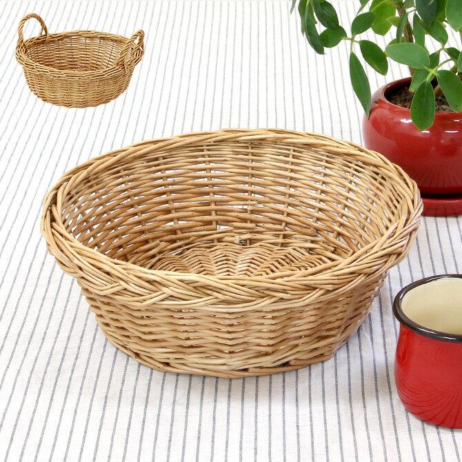 ウィロー 柳  丸型テーブルバスケット/持ち手ありの写真