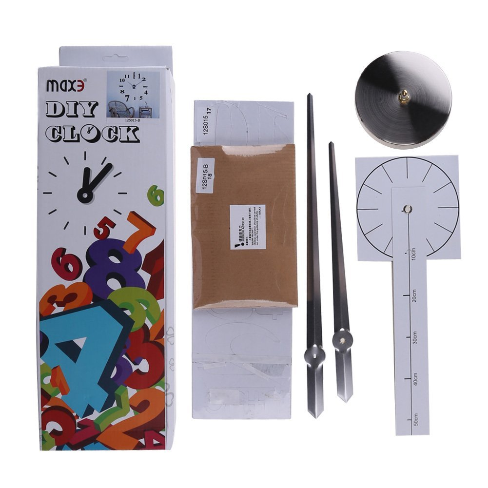 DIY 壁時計 ウォールクロック/12S015 シルバー針×ブラック文字新生活時計の写真