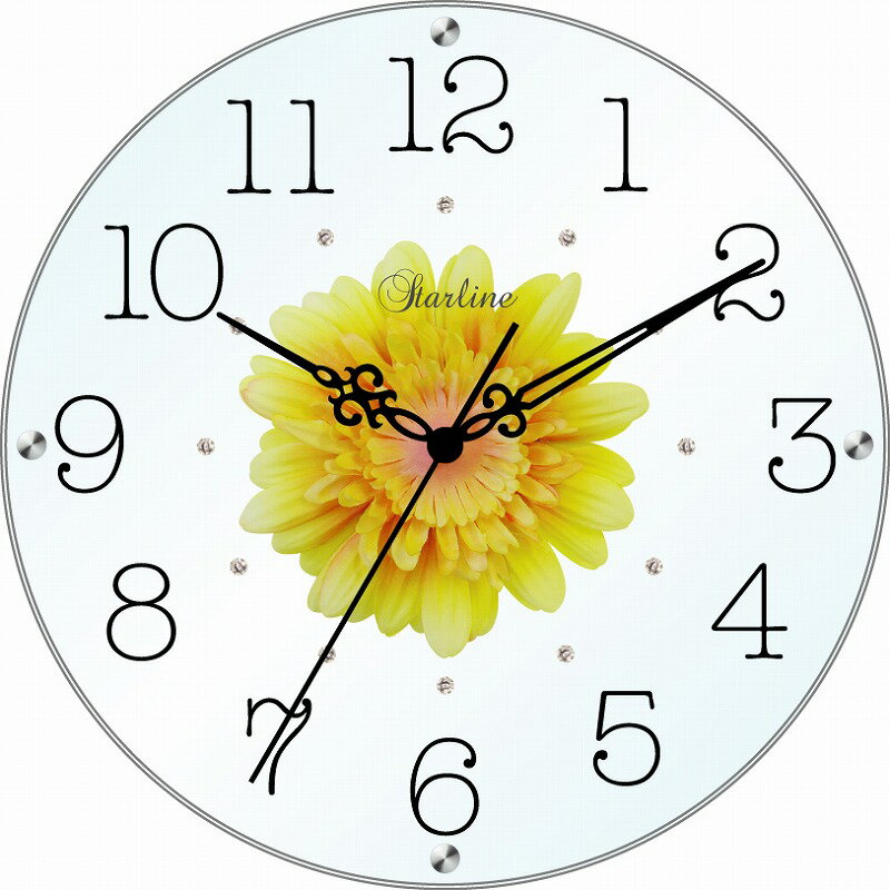 STARLINE/スターライン SW-1186YE イエロー アートフラワークロック掛時計