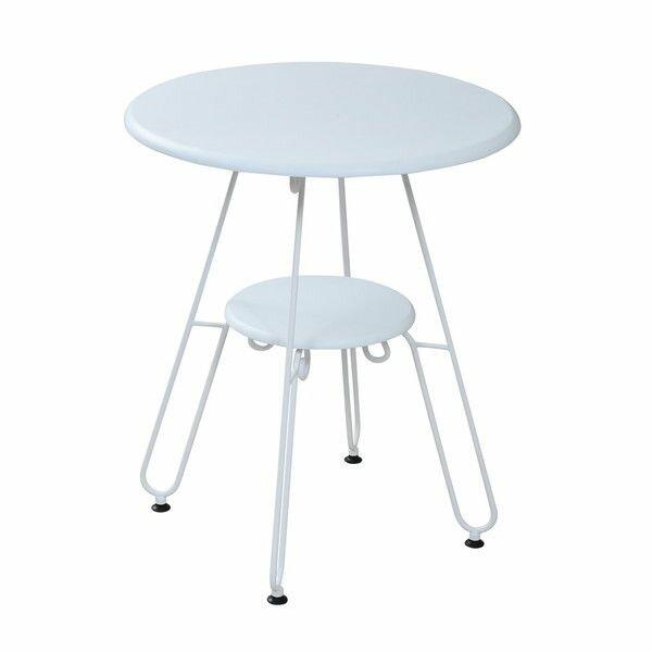 ロートアイアンシリーズ丸テーブル幅60cmアイアン脚クラシック IRI-0051-WH ホワイトの写真