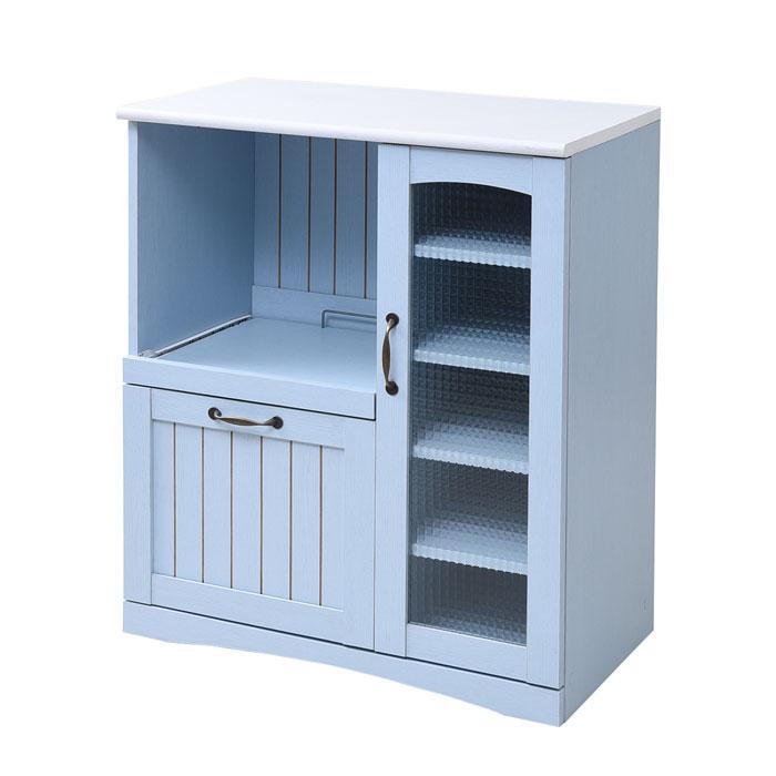フレンチカントリー家具 キッチンカウンター 幅75 フレンチスタイル ブルー&ホワイトの写真