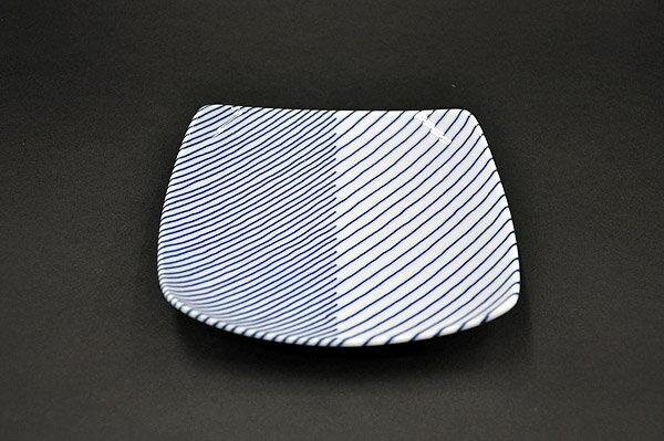 重ね縞 反角中皿(16 5×16 5×2 5)( 有)