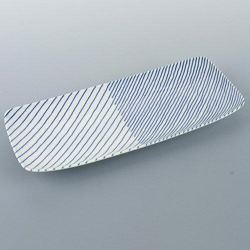 白山陶器 長焼皿 重ね縞の写真