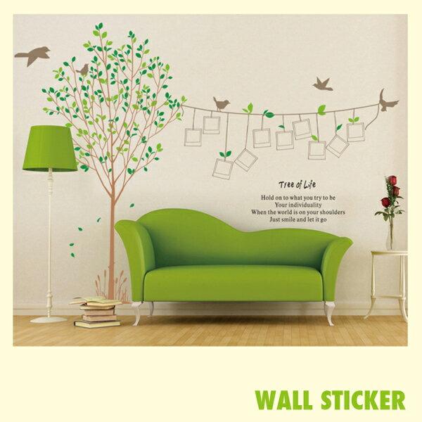 ウォールステッカー 木々と鳥 写真枠 ツリー 壁紙の写真