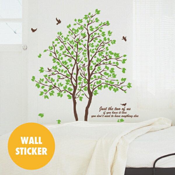 ウォールステッカー/リーフ・木々 小鳥 茶系の写真