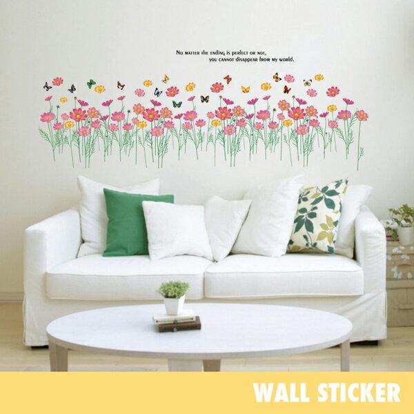 ウォールステッカー/コスモス花と蝶 花 フラワー