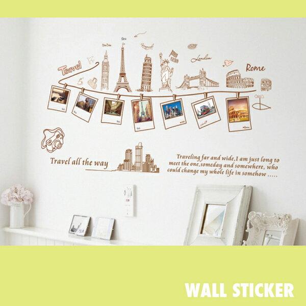 ウォールステッカー/世界旅行 写真 イラスト トラベル アメリカ パリ ローマ 北欧 シール 壁紙 ポスターの写真