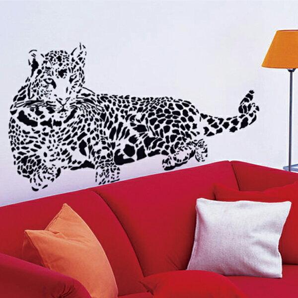 ウォールステッカー 豹 モノトーン 動物 ヒョウ レパード パンサーの写真
