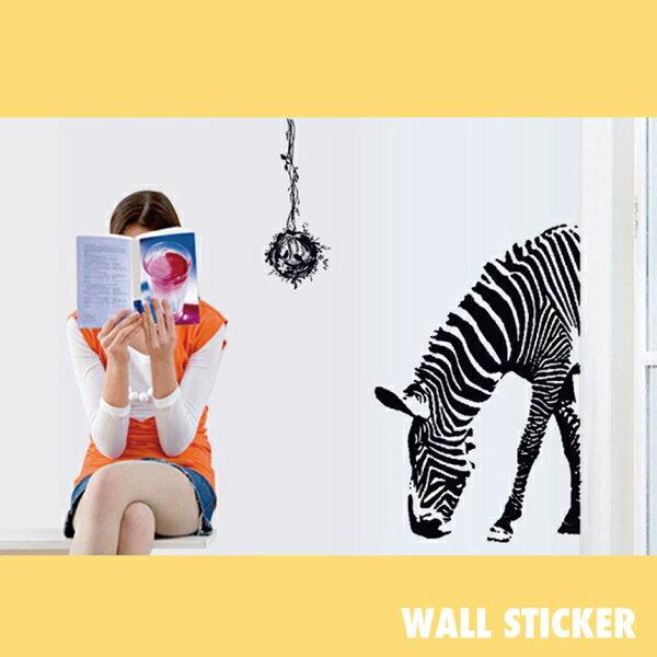 ウォールステッカー/シマウマ動物 モノトーン ゼブラ 縞馬 しまうま