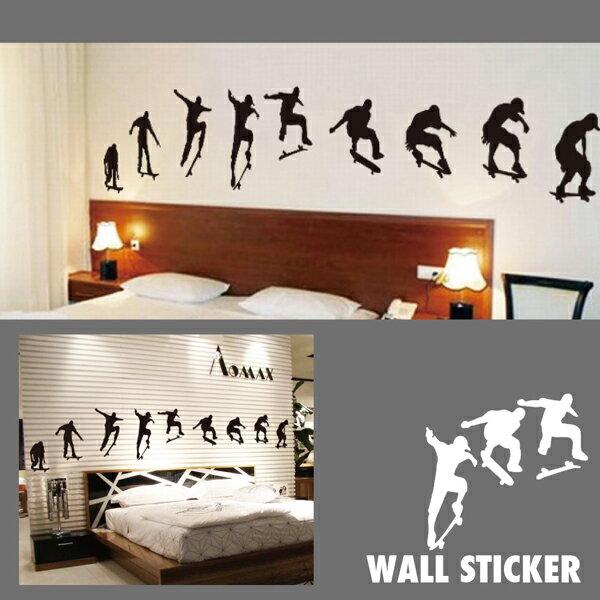 ウォールステッカー/スケボートリック スケートボード スケーター シール 壁紙 モノトーン